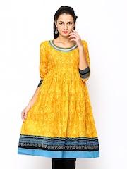 Span Women Yellow Printed Anarkali Kurta