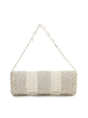 Spice Art Off-White & Muted Gold Toned Embellished Clutch