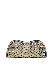 Spice Art Gold Toned & Black Studded Clutch