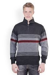 Sportking Men Grey Striped T-shirt
