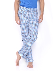 Sports 52 Men White & Blue Checked Lounge Pants S52WMPJ041