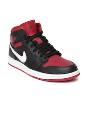 Nike Men Black & Red Air Jordan 1 Mid Basketball Shoes