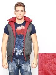 Status Quo Men Red & Grey Reversible Sleeveless Jacket