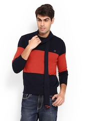 Status Quo Men Navy & Orange Sweater & Muffler Set