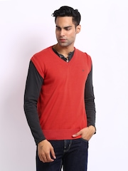 Status Quo Men Coral Red Sleeveless Sweater