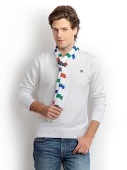 Status Quo Men White Sweater & Muffler Set
