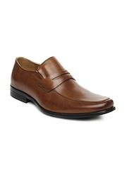 Steve Madden Men Tan Brown Leather Semi-Formal Shoes
