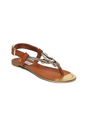 Women White & Brown Flats Steve Madden