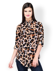 StileStreet Women Brown Animal Print Tunic