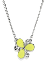 Stoln Girls Fluorescent Yellow & Silver Toned Necklace