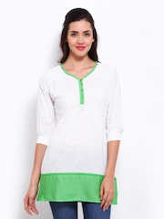 Style Quotient Women White & Green Tunic
