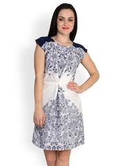 StyleToss White Printed A-Line Dress