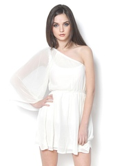 StyleToss White Fit & Flare Dress