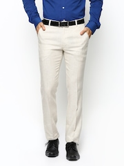 Success Men Cream Coloured Linen Slim Fit Smart-Casual Trousers
