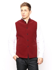 Success Men Red Velvet Nehru Jacket