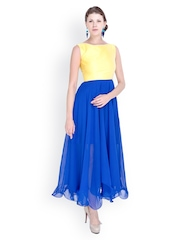 Sugar Her Yellow & Blue Fit & Flare Dress