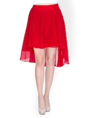 Sugar Her Red High Low Skirt