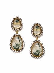 Sumukha Off-White & Green Drop Earrings