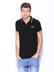 Superdry Men Black London Fit Twin Tipped Polo T-shirt