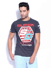 Superdry Men Blue Melange Moto X Printed T-shirt