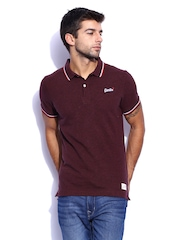 Superdry Men Burgundy Classic Grit Polo T-shirt