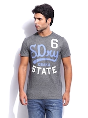 Superdry Men Charcoal Grey Dry Puff Jersey Stamp T-shirt