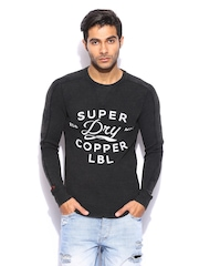 Superdry Men Charcoal Grey Graphic Printed T-shirt