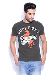 Superdry Men Charcoal Grey Mustang Tin Tab Printed T-shirt