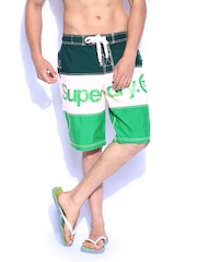 Superdry Men Green & Cream Coloured Swimming Shorts