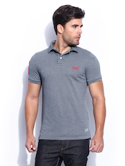 Superdry Men Grey Vintage Destroyed Snow Effect Polo T-shirt