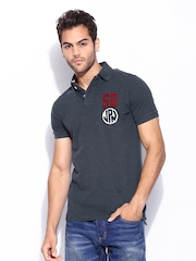 Superdry Men Charcoal Grey Twistyarn Pique Polo T-shirt