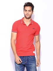 Superdry Men Red London Fit Twin Tipped Polo T-shirt