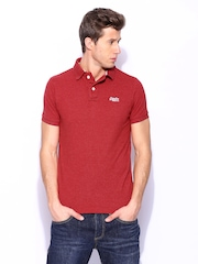Superdry Men Red Twist Yarn Pique Polo T-shirt