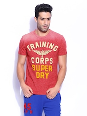 Superdry Men Red Melange Training Worn Wash Printed T-shirt