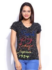 Superdry Women Charcoal Grey Chalk It Up T-shirt