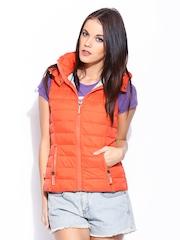 Superdry Women Orange Sleeveless Padded Jacket