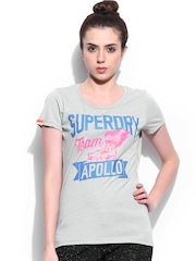 Superdry Women Grey Printed T-shirt