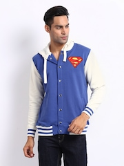 Superman Men Blue & Off-White Letterman Sweatshirt