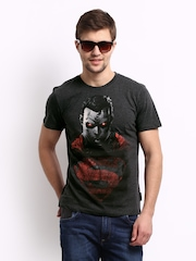 Superman Men Charcoal Grey Printed T-shirt