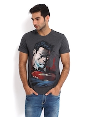Superman by Free Authority Men Charcoal Grey Printed T-shirt