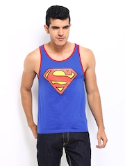 Superman Men Blue Sleeveless Printed T-shirt