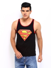 Superman Men Black Sleeveless Printed T-shirt