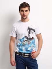 Superman Men White Printed T-shirt