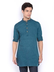 Svanik Men Teal Blue Short Kurta