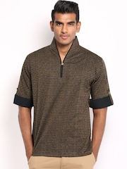 Svanik Men Brown & Black Printed Short Kurta