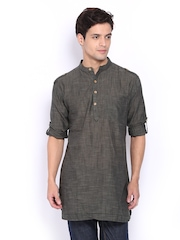 Svanik Men Charcoal Grey Short Kurta
