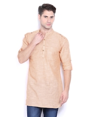 Svanik Men Orange Striped Kurta