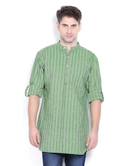 Svanik Men Green Striped Kurta