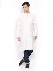 Svanik Men Off-White Jacquard Kurta