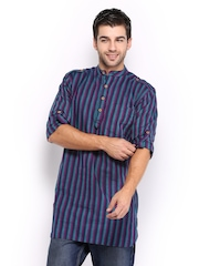 Svanik Men Purple & Teal Blue Striped Short Kurta